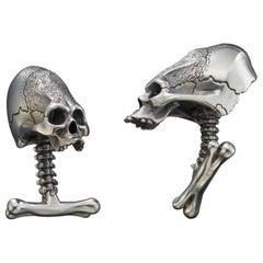 Sterling Silver 22 Karat Skull Cufflinks