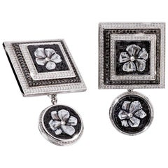 Cufflinks White Gold White and Black Diamonds Hand Decorated with Micro Mosaic