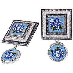 Cufflinks White Gold White Diamonds Blue Sapphires Hand Decorated Micro Mosaic