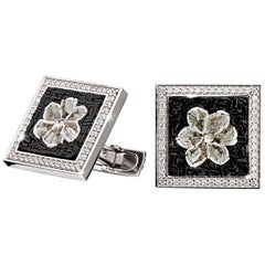 Cufflinks White Gold White Diamonds Hand Decorated with Micro Mosaic