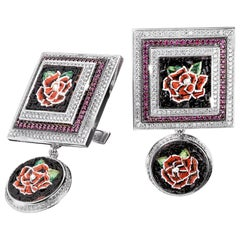 Cufflinks White Gold White Diamonds Ruby Hand Decorated with Micro Mosaic