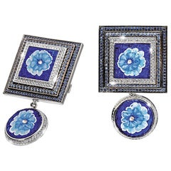 Cufflinks White Gold White Diamonds Sapphires Hand Decorated with Micro Mosaic