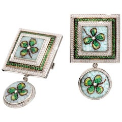 Cufflinks White Gold White Diamonds Tsavorite Hand Decorated with Micro Mosaic