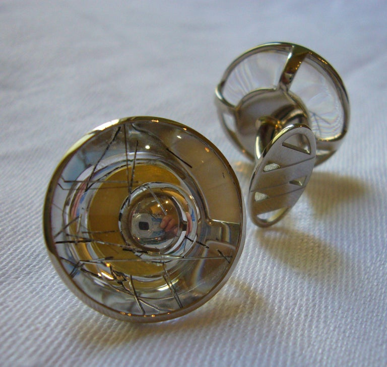 Cufflinks, White Gold, Yellow Gold, Rock Crystal with Tourmaline Needles  For Sale 4