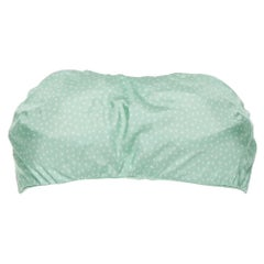 CULT GAIA 100% silk pastel green polkadot padded tie back strapless bandeau XS