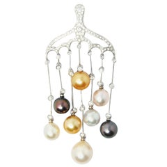 Cultivated Multi-Color Pearl Symphony Pendant in 18 Karat Gold and Diamonds