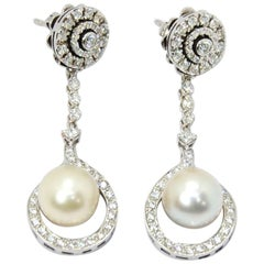 Cultivated Pearl Drop and Stud Earrings 18 Karat Gold and 2.16 Carat Diamond