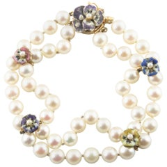 Cultured Akoya Pearl Bracelet with Enamel Floral Accents in Yellow Gold