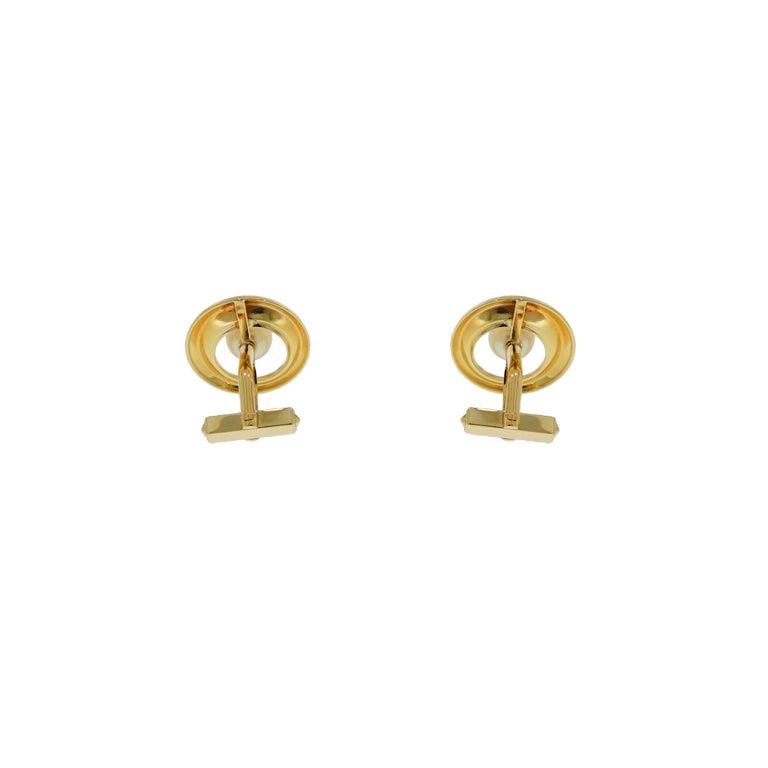 Modern Cultured Akoya Pearl Yellow Gold Cufflinks For Sale