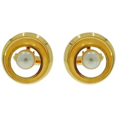 Cultured Akoya Pearl Yellow Gold Cufflinks
