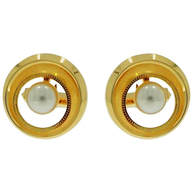 Cultured Akoya Pearl Yellow Gold Cufflinks For Sale