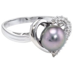 Cultured Black Pearl Diamond Heart Ring Estate 18 Karat Gold Vintage Jewelry