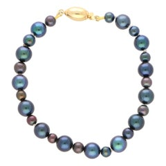 Cultured Black Pearl Strand Bracelet Set with an 18k Yellow Gold Clasp