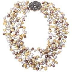 Cultured Freshwater Pearl and Sterling Silver Multi Strand Necklace