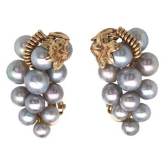 Cultured Freshwater Pearl Cluster-Grape Clip-On Earrings Set in 14 Karat Gold