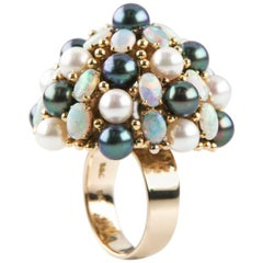 Cultured Freshwater Pearl, Opal Dome 18 Karat Yellow Gold Cocktail Ring