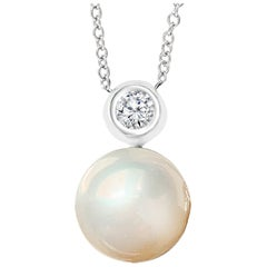 Cultured Freshwater Round Pearl and Diamond Pendant 14 Karat White Gold