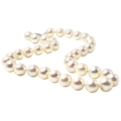 Cultured Freshwater Semi-Round Pearl 14 Karat White Gold Clasp Necklace Desi
