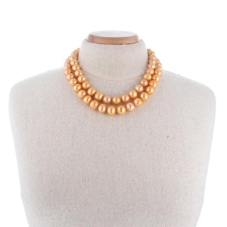 Women's Cultured Freshwater Yellow Pearl Yellow Gold Necklace For Sale
