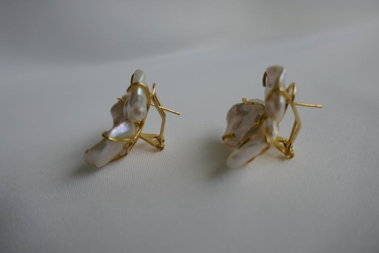 Modern Cultured Keshi Pearls Flowers Earrings on 925 Vermeil Omega Clasp For Sale