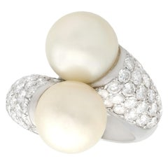 Cultured Pearl and 1.70 Carat Diamond White Gold Cocktail Ring, circa 1970