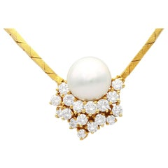 Cultured Pearl and 1.75 Carat Diamond Yellow Gold Necklace