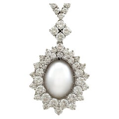 Cultured Pearl and 5.32 Carat Diamond White Gold Necklace