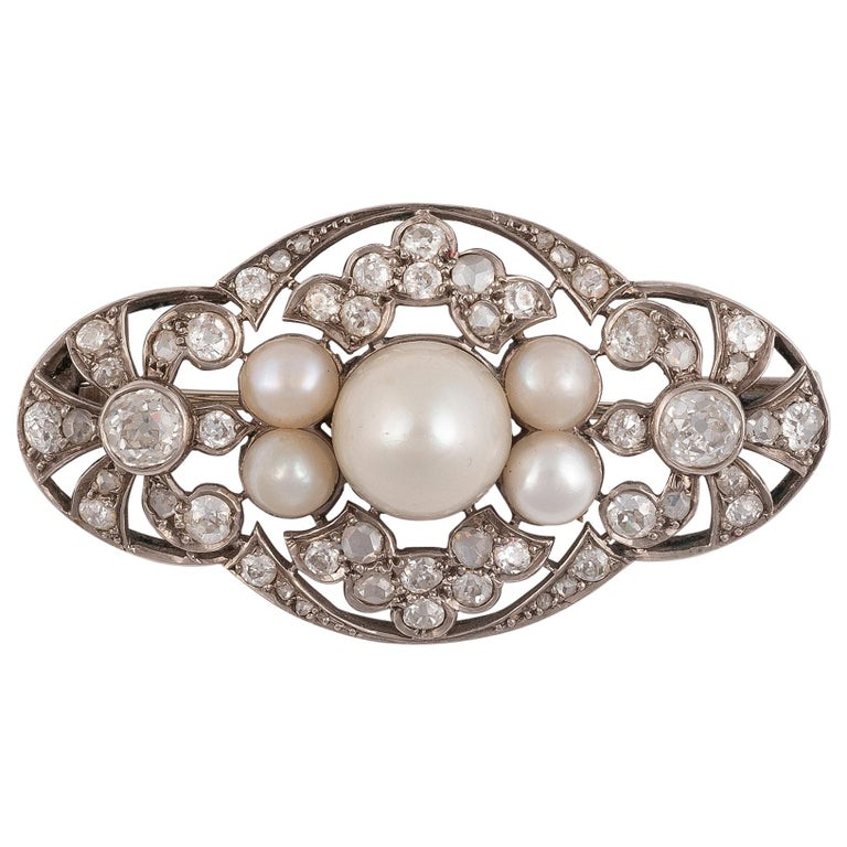 Cultured Pearl and Diamond Brooch For Sale