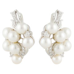 Cultured Pearl and Diamond Cluster Earrings in 14 Karat White Gold