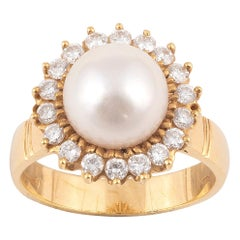 Cultured Pearl and Diamond Cluster Ring