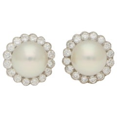 Cultured Pearl and Diamond Cluster Stud Earrings in 18 Karat White Gold