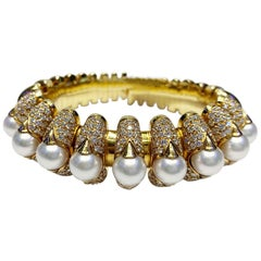 Cultured Pearl and Diamond Gold 'Celtaura' Cuff-Bracelet by Bulgari