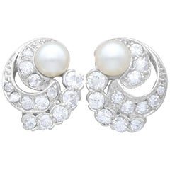 Cultured Pearl and Diamond Platinum and White Gold Clip-On Earrings