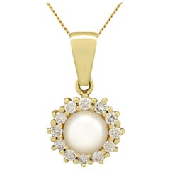 Cultured Pearl and Diamond Yellow Gold Pendant