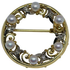 Birks Cultured Pearl and Rose Cut Diamond Wreath Brooch 14 Karat Gold