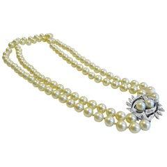Cultured Pearl Antique 14 Karat White Gold Diamond Brooch, Double Strands