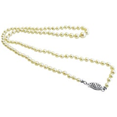 Cultured Pearl Antique Necklace Graduated 14 Karat Lock