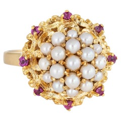 Cultured Pearl Cluster Ring Vintage 18 Karat Gold Ruby Round Cocktail Jewelry