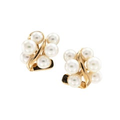 Cultured Pearl Cluster Yellow Gold Clip On Earrings