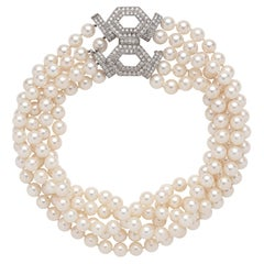 Cultured Pearl, Diamond and 18 Karat White Gold Necklace by Trio