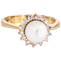 Cultured Pearl Diamond Halo Ring Vintage 14 Karat Gold Estate Jewelry Round