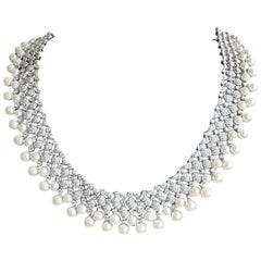 Goshwara Cultured Pearl and Diamond Necklace