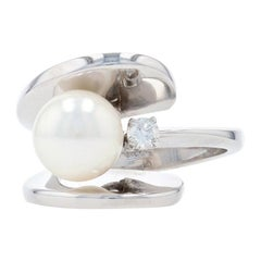 Cultured Pearl & Diamond Ring, 14k Gold Modern Bypass Round Brilliant .12ct
