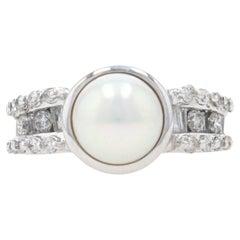Cultured Pearl & Diamond Ring, 14k White Gold Women's
