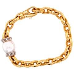 Cultured Pearl Diamond Solid Oval Link 14 Karat Yellow Gold Bracelet