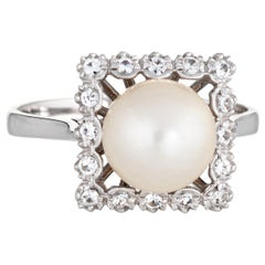 Cultured Pearl Diamond Square Ring Vintage 18 Karat Gold Estate Fine Jewelry