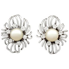 Cultured Pearl Diamond White Gold Stud Earrings