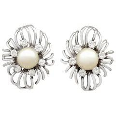 Cultured Pearl Diamond White Gold Stud Earrings