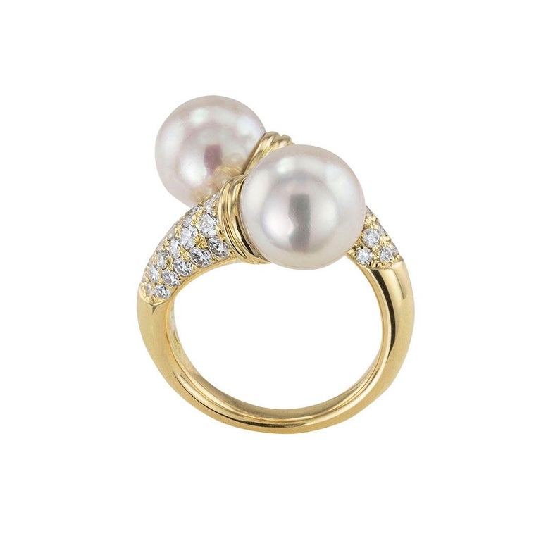 Contemporary Cultured Pearl Diamond Yellow Gold Bypass Ring For Sale