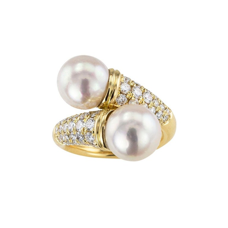 Round Cut Cultured Pearl Diamond Yellow Gold Bypass Ring For Sale